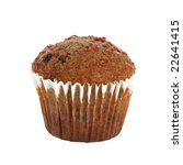 Small photo of bran muffin isolated on white background