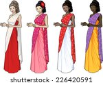 beautiful woman in indian sari... | Shutterstock .eps vector #226420591