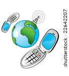 two cellphones connecting | Shutterstock .eps vector #22642207