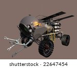 Mars on-site construction assembly vehicle - left view - stock photo
