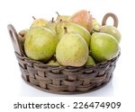 Pears In A Basket  Isolated On...