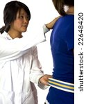 Small photo of physical therapist helps a patient with a gait belt...focus is on the gait belt