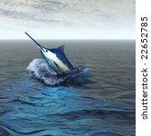 Blue Marlin   Breaching Through ...