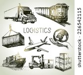 hand drawn logistics and... | Shutterstock .eps vector #226542115