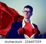 strong superhero businessman... | Shutterstock . vector #226607359