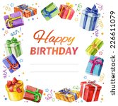 card happy birthday. square... | Shutterstock .eps vector #226611079