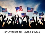 group of people waving american ... | Shutterstock . vector #226614211