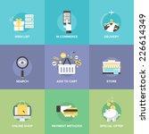 flat icons set of online... | Shutterstock .eps vector #226614349