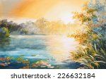Painting   Sunset On The Lake ...