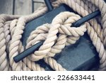 Close Up Of Boat Rope Tied On...