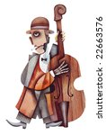 Bass player. Illustration by Eugene Ivanov. - stock photo