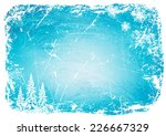 grunge winter background with trees and snowflakes. vector illustration