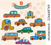 vector set  of car in cartoon... | Shutterstock .eps vector #226668769