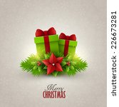christmas card with fir twigs... | Shutterstock .eps vector #226673281