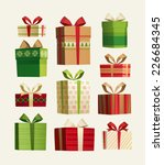 gift set. christmas card ... | Shutterstock .eps vector #226684345