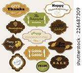 set of 12 isolated thanksgiving ... | Shutterstock .eps vector #226687309