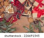 gingerbread cookies with...   Shutterstock . vector #226691545