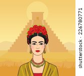 mexican woman on a pyramid maya ... | Shutterstock .eps vector #226780771