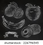 fruit drawn in chalk on a... | Shutterstock .eps vector #226796545