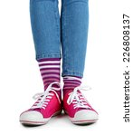 female legs in colorful socks... | Shutterstock . vector #226808137