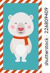 Little Polar bear. Christmas and New year card. EPS 10 file, easy to editable - stock vector