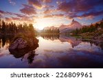 Stock photo the beautiful lago di federa see early in the morning 226809961