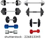 gymnasium weights icons | Shutterstock .eps vector #226813345