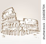 colosseum hand draw  | Shutterstock .eps vector #226838704