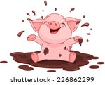 Illustration Of Very Cute Pigg...
