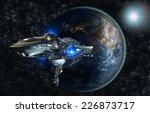 spaceship fleet leaving earth...   Shutterstock . vector #226873717