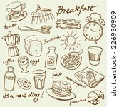breakfast food and icons doodle ... | Shutterstock .eps vector #226930909