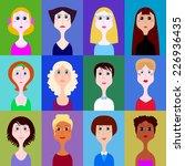 vector set of portraits of women | Shutterstock .eps vector #226936435