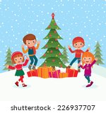 children celebrate christmas... | Shutterstock .eps vector #226937707