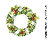 green christmas wreath with... | Shutterstock .eps vector #226945321
