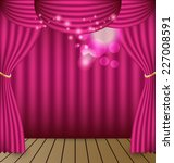 Pink Curtains Vector Background