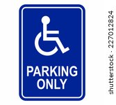 disabled person parking sign   Shutterstock .eps vector #227012824
