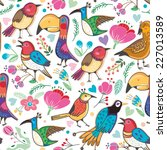 bright vector pattern of birds... | Shutterstock .eps vector #227013589