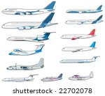 Set Of Civilian Airplanes