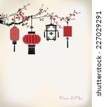 chinese lantern hang on cherry... | Shutterstock .eps vector #227029291