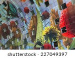 Small photo of ROTTERDAM, THE NETHERLANDS - OCTOBER 12, 2014: Large and colorful decoration (by Dutch artist Arno Coenen) on the inside the market hall in the city center of Rotterdam.