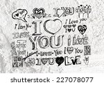 heart drawing and valentines... | Shutterstock . vector #227078077