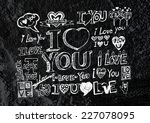 heart drawing and valentines... | Shutterstock . vector #227078095