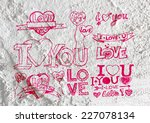 heart drawing and valentines... | Shutterstock . vector #227078134