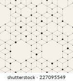 Vector seamless pattern. Modern stylish texture. Repeating geometric background with rhombus and nodes from rhombuses and hexagons with circles variously sized in nodes | Shutterstock vector #227095549