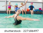 cute swimming class watching... | Shutterstock . vector #227186497