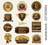 60 years anniversary labels and ... | Shutterstock .eps vector #227205001