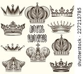 vector set of crowns for your... | Shutterstock .eps vector #227213785
