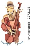 Solo on a contrabass. Illustration by Eugene Ivanov. - stock photo