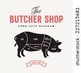 pork cuts diagram  vector... | Shutterstock .eps vector #227215681