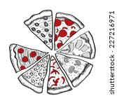 pizza slices. vector...   Shutterstock .eps vector #227216971